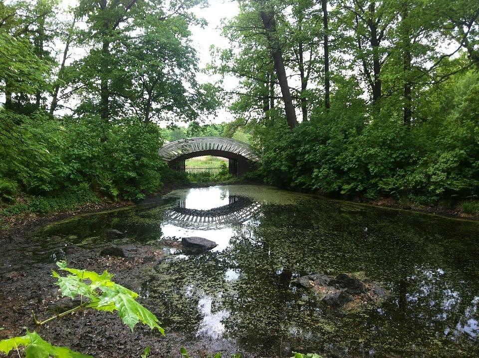 Река и мост в парке Монрепо.