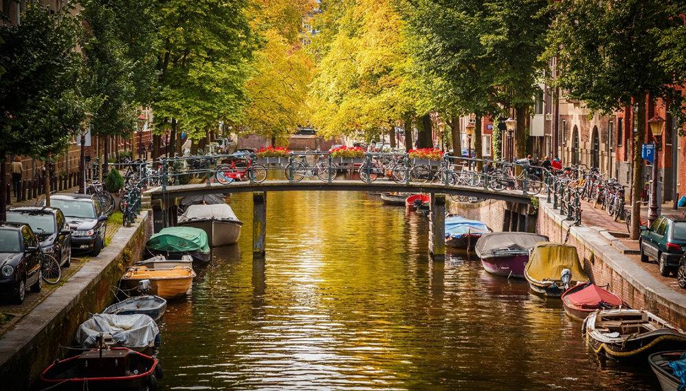 Мост через реку с лодками в городе