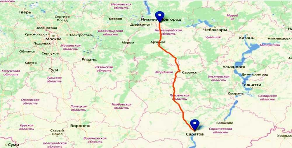 Расстояние Нижний Новгород - Саратов и варианты поездки