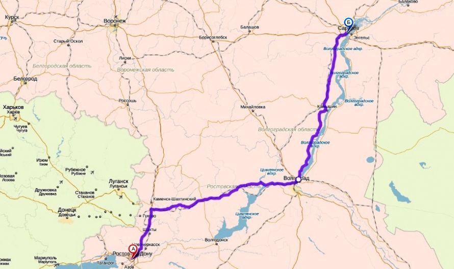 Расстояние Саратов - Ростов и как его проехать